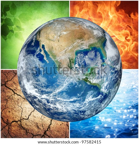 composition of the four natural elements and Earth ( The image of the Earth from www.nasa.gov) - stock photo