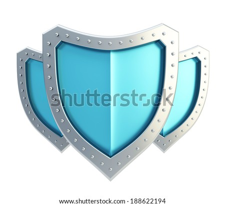 Composition of three blue and chrome metal shields isolated over the white background - stock photo