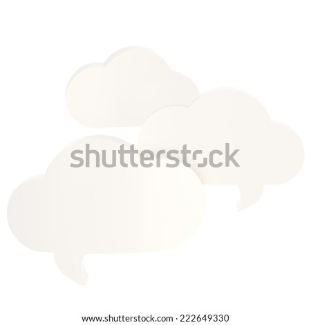 Composition of three cloud shaped white glossy text bubbles isolated over the white background - stock photo
