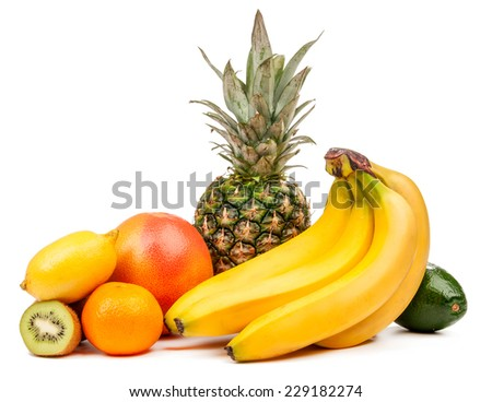 Composition of tropical fruits isolated on a white background