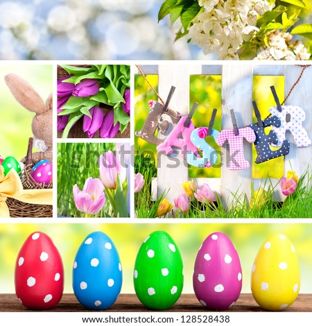Composition of tulips, natural spring pictures and decorative Easter eggs, collage with photos of easter decorations - stock photo