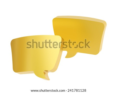 Composition of two golden text bubbles isolated over the white background