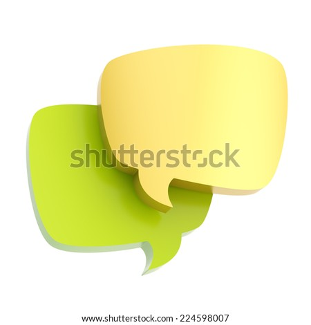 Composition of two, green and golden text bubbles isolated over the white background