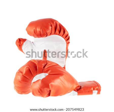 Composition of two red and white boxing gloves isolated over the white background