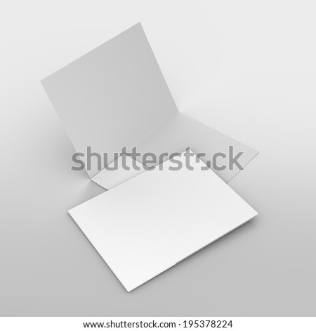 composition of two white folders on grey - stock photo