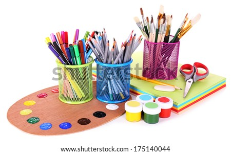 Composition of various creative tools isolated on white - stock photo