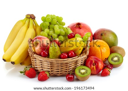 Composition of various exotic fruits isolated on white background - stock photo