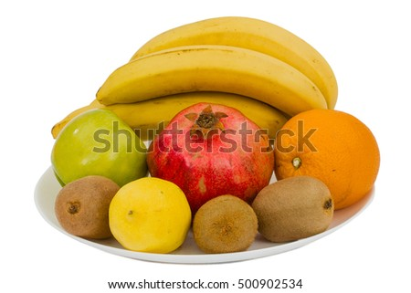 Composition of various exotic fruits, isolated on white background