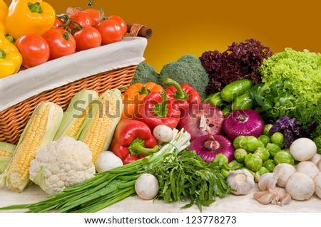 Composition of vegetable with basket