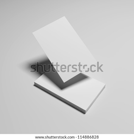 Composition of white business cards isolated with soft shadow - stock photo