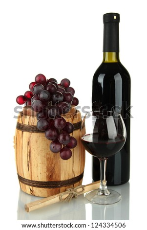 composition of wine,wooden barrel and grapes isolated on white
