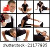 composition of young sportive man  in different poses on an isolated background - stock photo