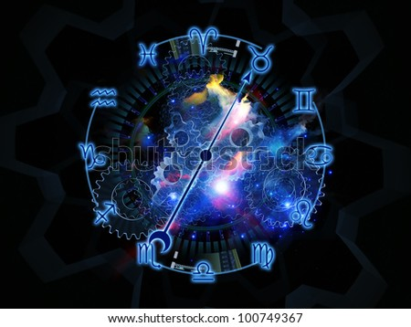 Composition of Zodiac symbols, gears, lights and abstract design elements on the subject of astrology, child birth, fate, destiny, future, prophecy, horoscope and occult beliefs