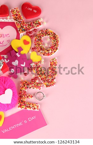 Composition Valentine's Day on pink background