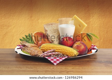 Composition vegetables and fruits - stock photo