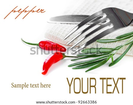 Composition vegetables with a knife and fork - stock photo