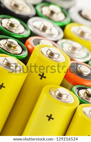 Composition with alkaline batteries - stock photo