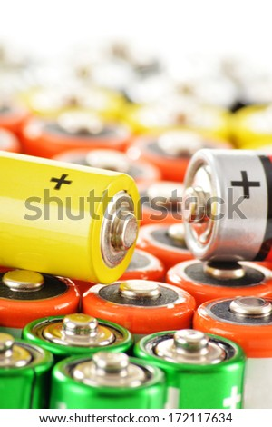 Composition with alkaline batteries.  Chemical waste - stock photo