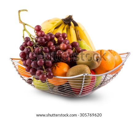 Composition with assorted fruits in metal basket isolated on white