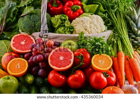 Composition with assorted raw organic vegetables. Detox diet - stock photo