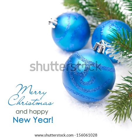 composition with blue Christmas balls and spruce branches, isolated on white - stock photo
