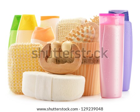 Composition with  body care accessories and beauty products isolated on white - stock photo