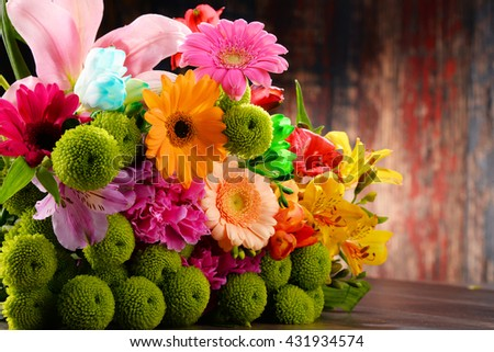 Composition with bouquet of flowers. - stock photo