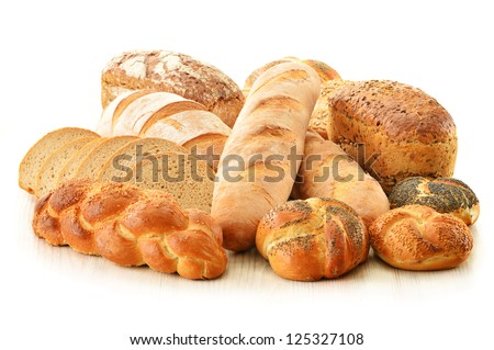 Composition with bread and rolls isolated on white - stock photo