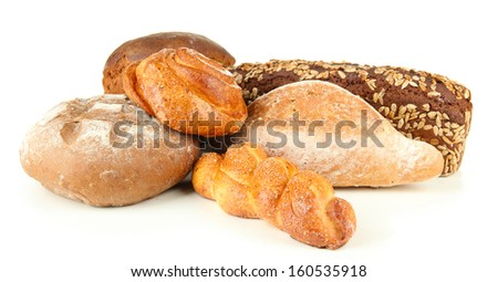 Composition with bread and rolls, isolated on white