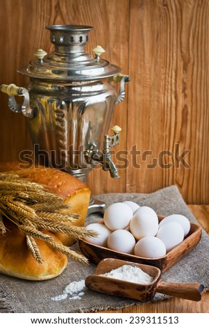 Composition with bread in retro style
