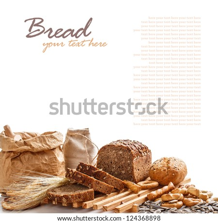 Composition with bread on white - stock photo