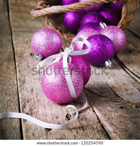 Composition with Brilliant Pink Christmas Balls - stock photo
