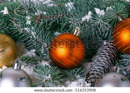 Composition with Christmas decorations fir tree