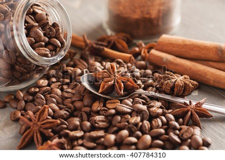 Composition with coffee and aromatic ingredients closeup, selective focus - stock photo