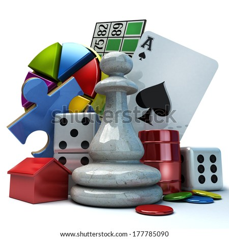 Composition with different games elements - stock photo