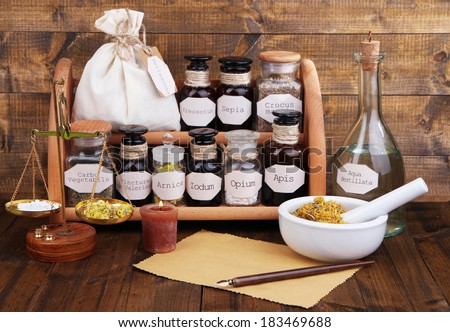 Composition with empty page and historic old pharmacy bottles with label   on wooden background - stock photo
