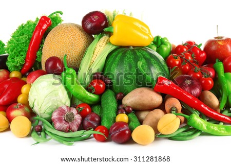 Composition with fresh fruits and vegetables on white background - stock photo