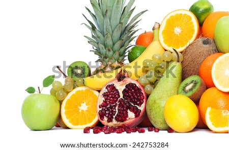 Composition with fruits isolated - stock photo