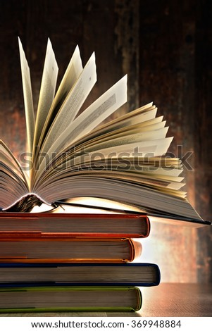 Composition with hardcover books. Literature and education. - stock photo
