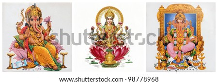 composition with Lakshmi and Ganesha hindu gods - stock photo