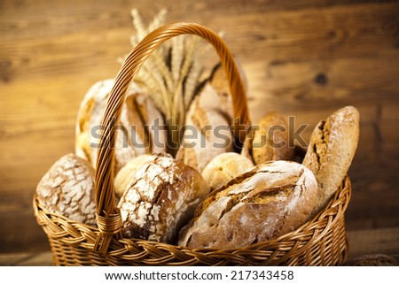 Composition with loafs of bread - stock photo