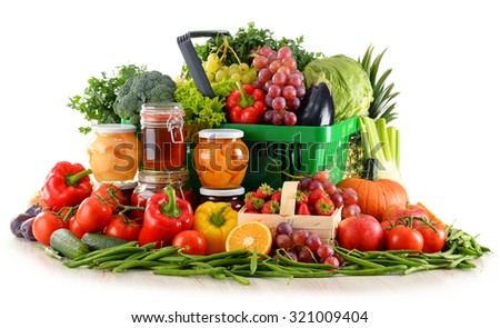 Composition with organic food isolated on white background. Balanced diet - stock photo