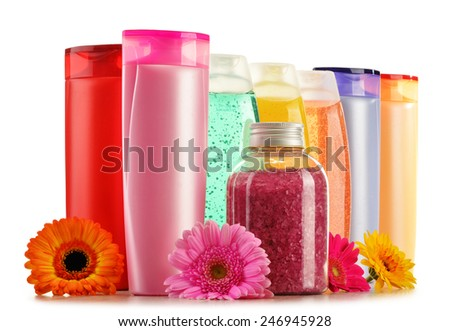 Composition with plastic bottles of body care and beauty products  - stock photo