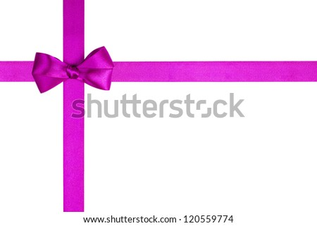 composition with purple ribbons and a simple bow isolated on white