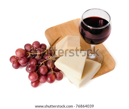 Composition with red wine, cheese and grape