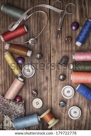 composition with sewing tools  - stock photo