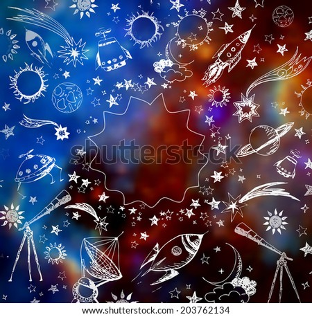Composition with sketchy space objects and place for your text on blurred space background. Elements of this image furnished by NASA.  - stock photo