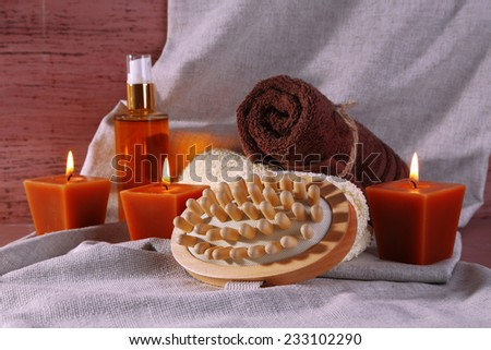 Composition with spa treatment on cloth background - stock photo