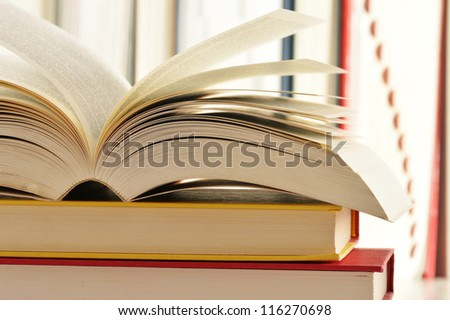Composition with stack of books - stock photo