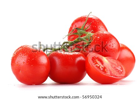 Composition with tomatoes isolated on white